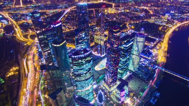 Башни Москва-Сити с высоты 488 метров